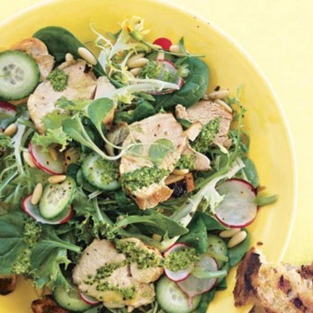 Grilled Chicken Salad with Radishes, Cucumbers, and Tarragon Pesto - In our house, everyone begs for chicken on the barbecue. It adds that extra burst of flavour! Colourful and delicious, this lemony veggie-filled salad ticks all the boxes!Get the recipe>>
