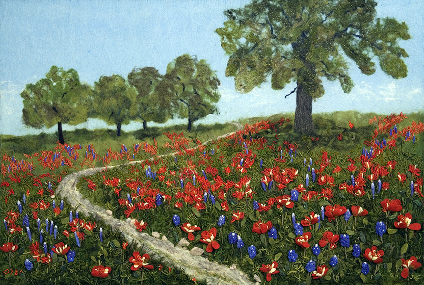 """Indian Paintbrush and Bluebonnets"" by Barbara Cade ©2007"
