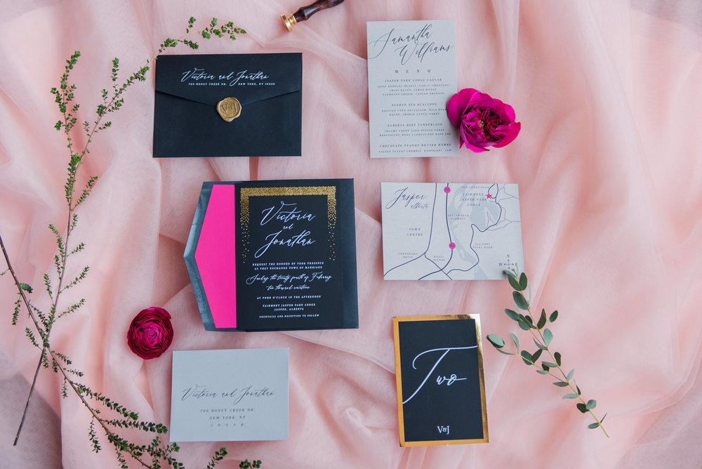 |  Stationary Designer Pink Umbrella Invites  |  Photography Raelene Schulmeister  |