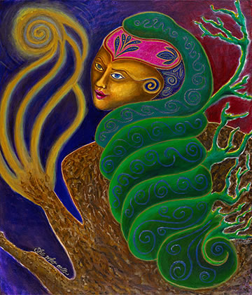 TreeSnake Goddess: She Who Calls painting