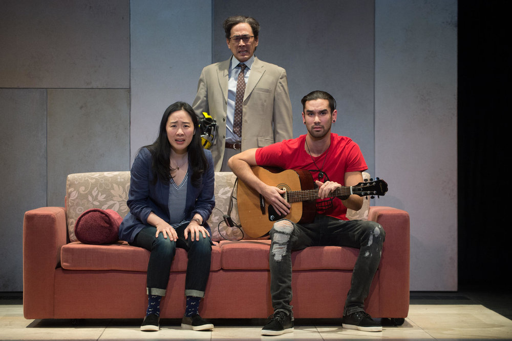 Hannah (Cindy Im), Father (Paul Juhn) and Dang (Sean Jones) in the Oregon Shakespeare Festival's 2017 production 'Hannah and the Dread Gazebo,' (JENNY GRAHAM/Oregon Shakespeare Festival).