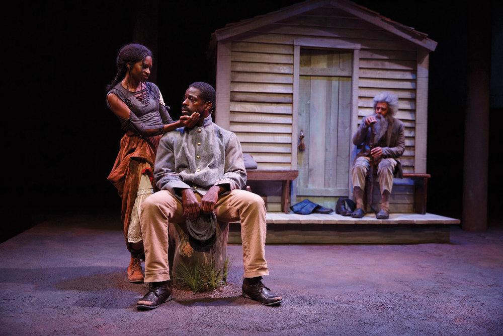 The cast of  Father Comes Home From The Wars  at The Public Theater. Photo by Joan Marcus.