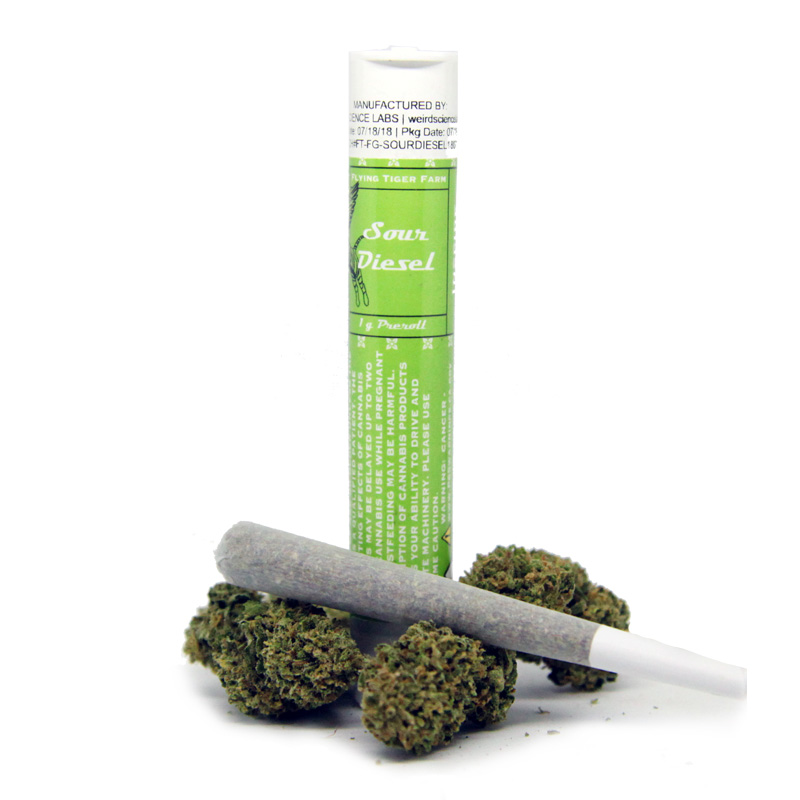 Flying Tiger Farms , Sour Diesel (Hybrid)  Single Pre-Roll, Outdoor Light Dep