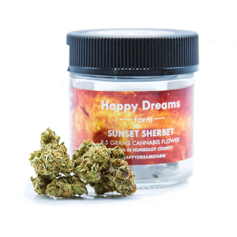 Happy Dreams Farm , Sunset Sherbet  1/8 Packaged Flower, Outdoor Light Dep