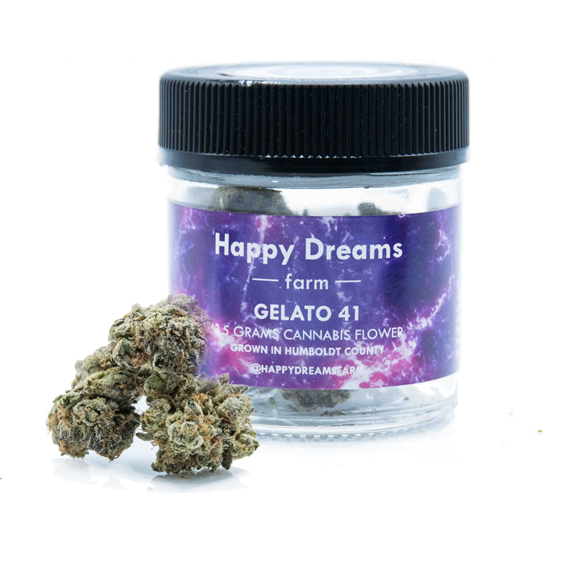 Happy Dreams Farm , Gelato 41  1/8 Packaged Flower, Outdoor Light Dep