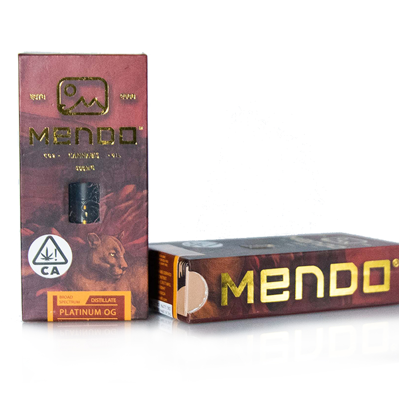 Mendo Cannabis Co.,  Platinum OG  0.5g Vape Cart, Outdoor Light Dep