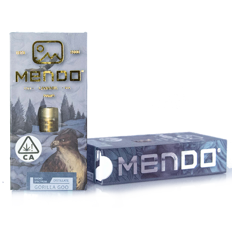Mendo Cannabis Co.,  Gorilla Goo  0.5g Vape Cart, Outdoor Light Dep