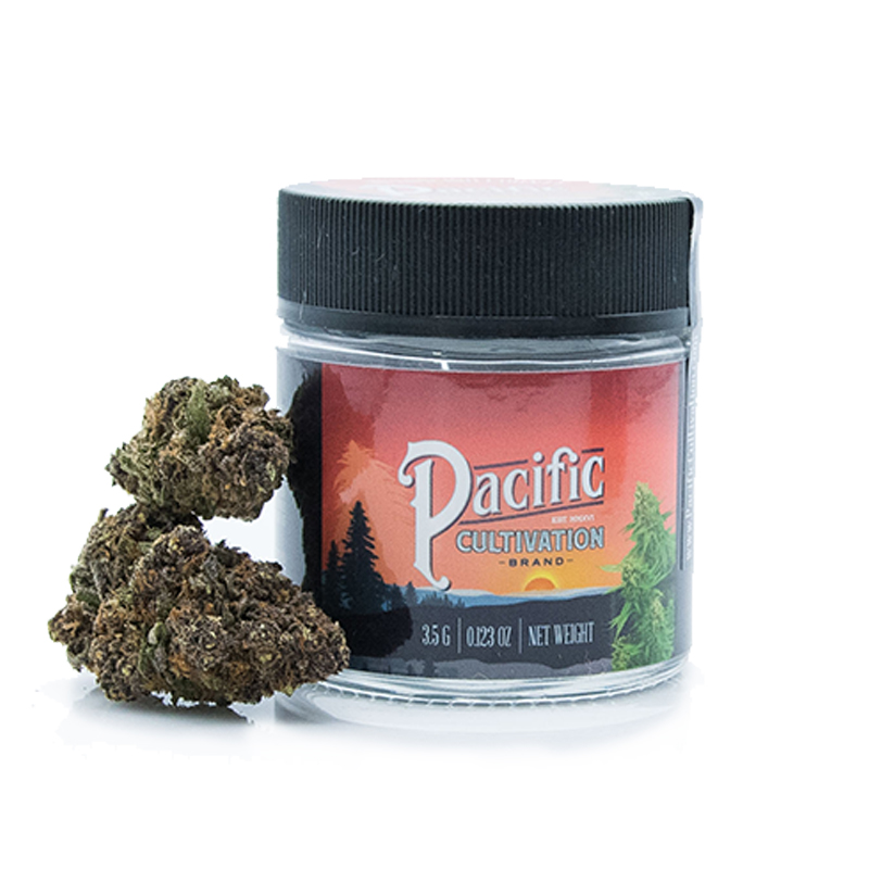 Pacific Cultivation,  Mendo Breath (Indica)  1/8 Packaged Flower, Outdoor Light Dep