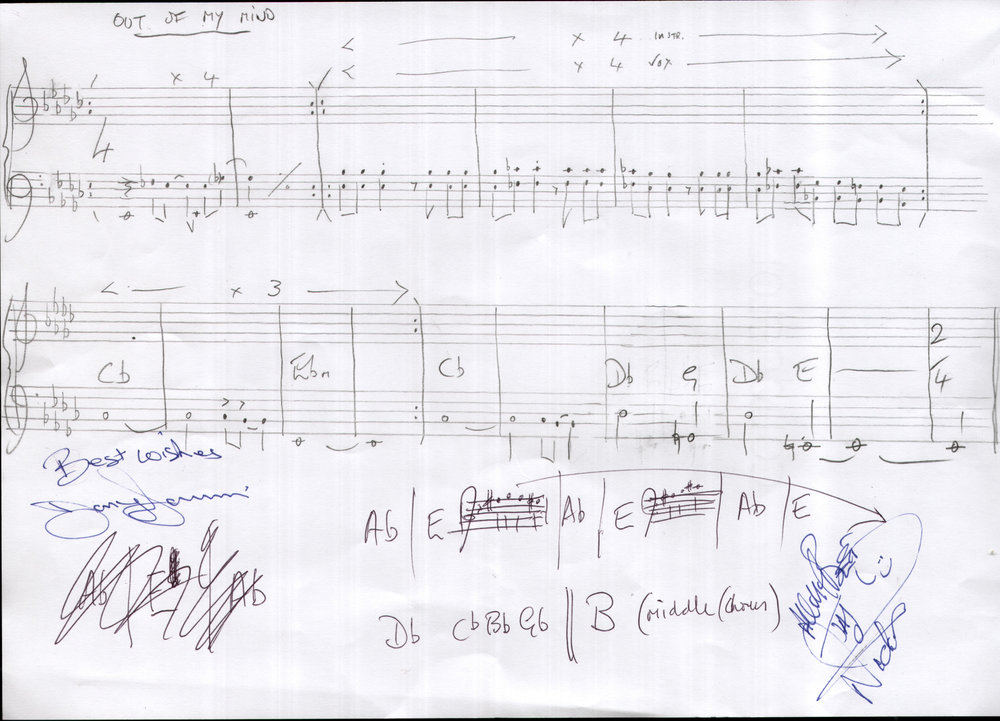 "Jon Lord's handwritten score for ""Out Of My Mind"""