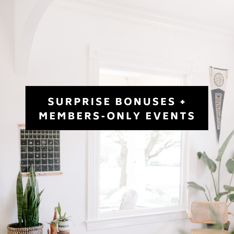 We have so many fun things up our sleeve. As a member, you will get access to all of our surprise bonuses and future members-only events. Just you wait!!!