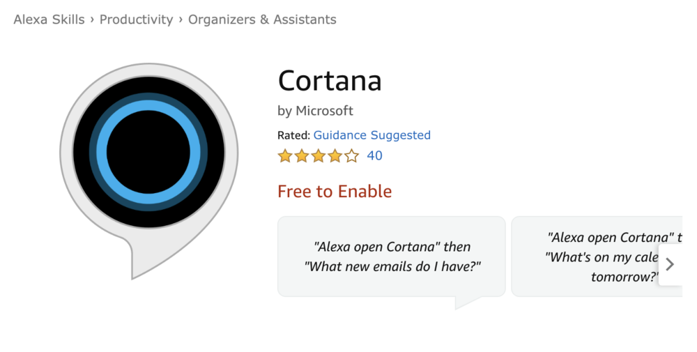 Cortana Alexa Skill