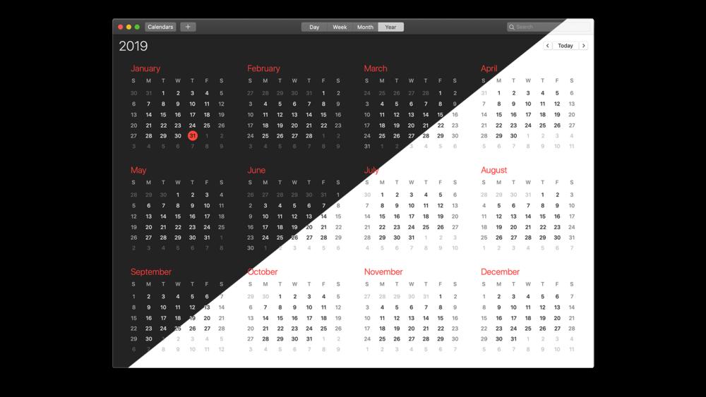 macOS Dark Mode / Light Mode Calendar