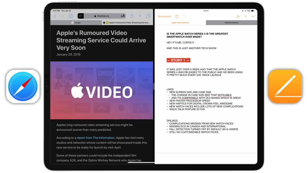 Tabs Shown in Safari & Pages
