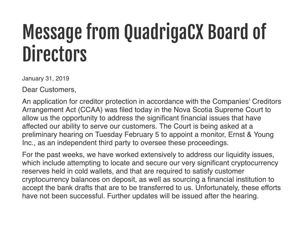Message On QuadrigaCX Website