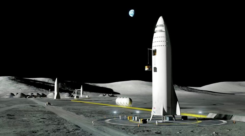 Starship on the surface of the moon
