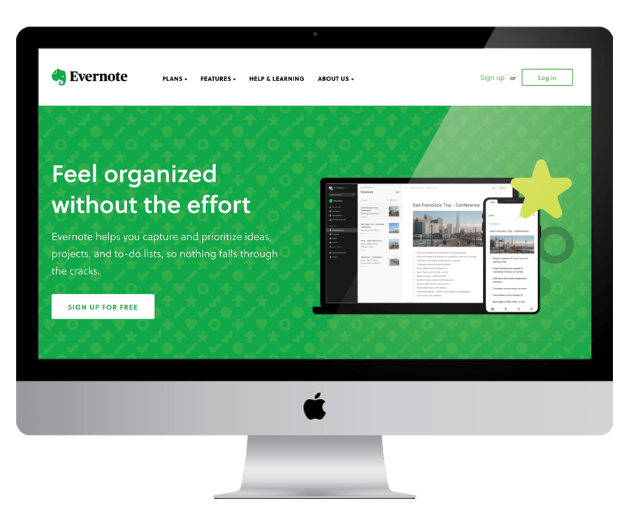 Evernote - To organize thoughts and plans for your business