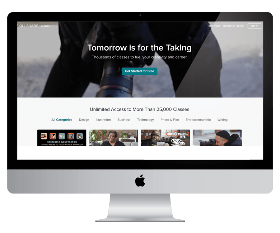 SkillShare - A learning platform of online classes for everything you need to know to run and grow your business
