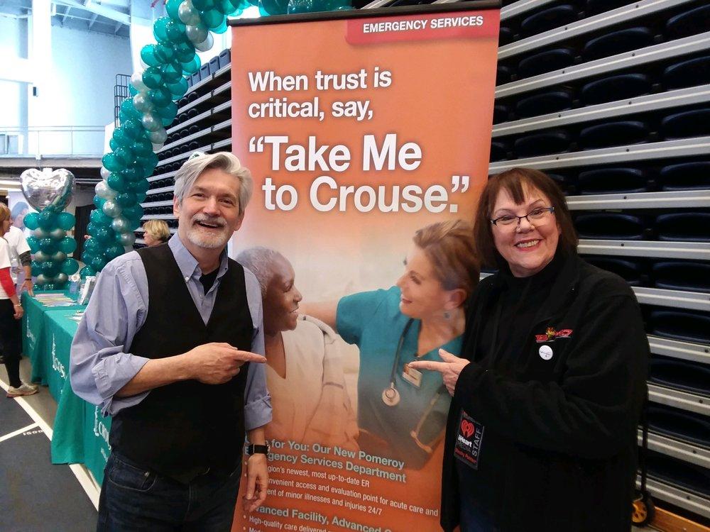 With my dear, dear friend Becky Palmer B104 superstar at the Crouse Health booth.