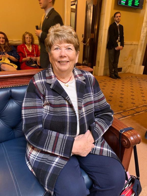 Gayle Petersen sits in on Senate floor time.