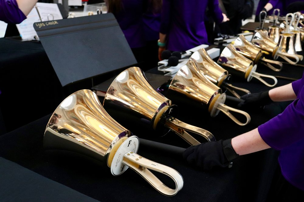 Bells used in a musical performance.