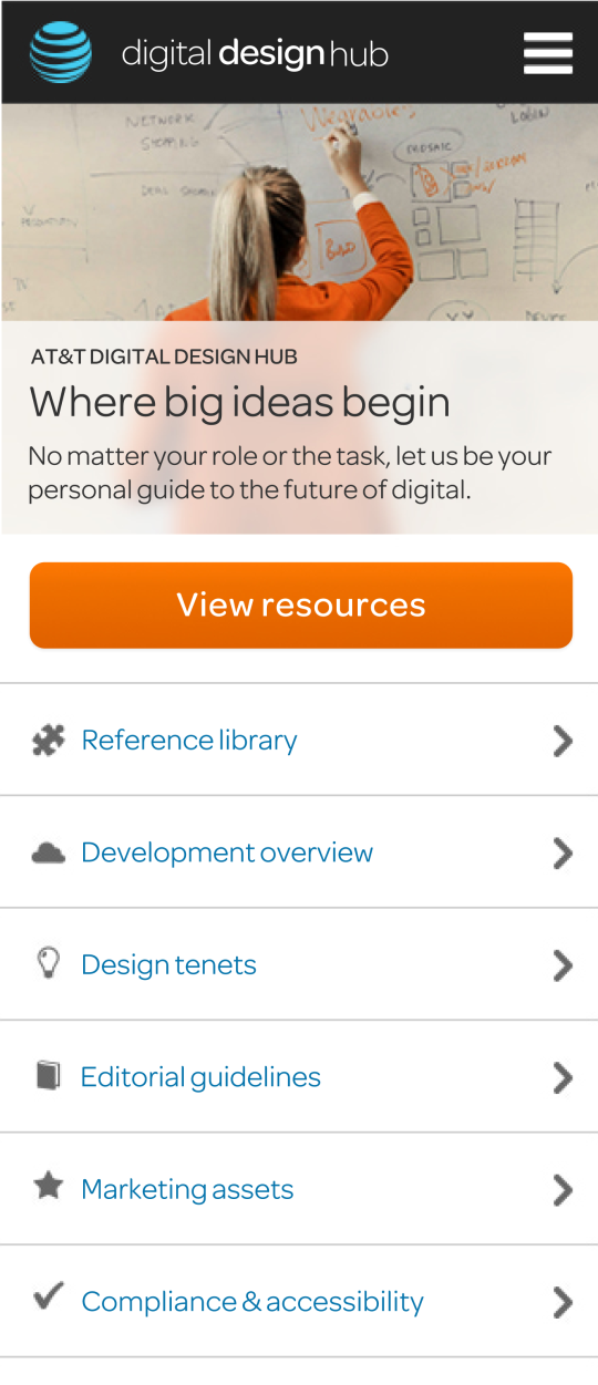 Mobile version of the home page -