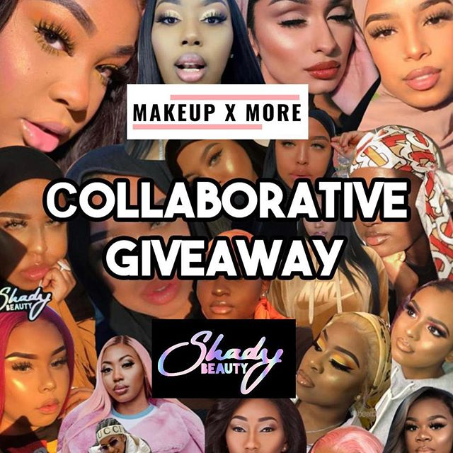 COLLABORATIVE GIVEAWAY - Swipe right to see the prizes 💫  TWO WINNERS - OPEN IN THE UK AND WORLDWIDE !! ✨To take part in this giveaway you MUST follow all rules to win ✨  1. MUST BE FOLLOWING everyone hosting the giveaway (below) 2. Tag 2 friends in the comments 3. Screenshot/Repost one of the giveaway posts and use the hashtag #collabgiveaways  @makeup.x.more @ShadyBeautyCo @mspaigeycakey  @BeatByV @dollyessencebeauty  @w.xvd - - -  #giveaway #giveawaycontest #giveawayuk #ukgiveaway  #shadybeauty #instamakeup #beautyblogger #beautybloggerlife #beautybloggers #beautyguru #beautyjunkie #makeupaddict #makeupblogger #makeupjunkie #makeuplover #makeupmafia #makeupoftheday #slave2beauty  #blackgirlmagic  #makeupinspiration  #melanin #melaninmakeup #makeupforwomenofcolor #makeupclips @makeupforwomenofcolor @melaninmakeupdaily @makeupforwoc