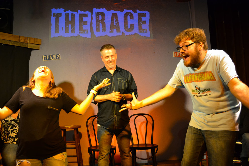 Mary Rill, Larry Bukovey, and Warren Buchholz performing in  Improvarama .