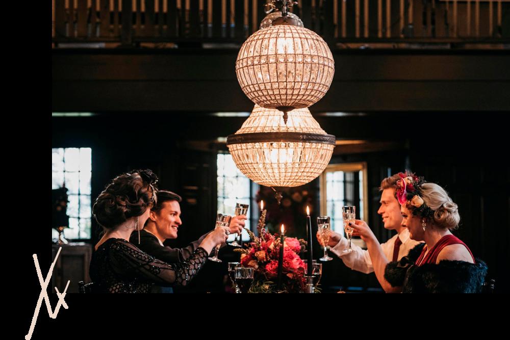 Love shines brightest under a well lit chandelier. -