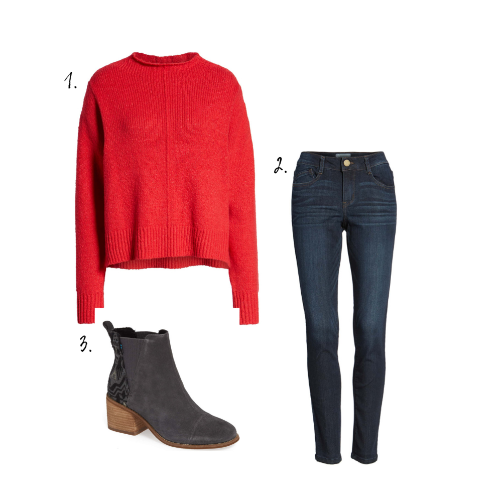 Outfit details - 1. Sweater2. Jeans3. Boots