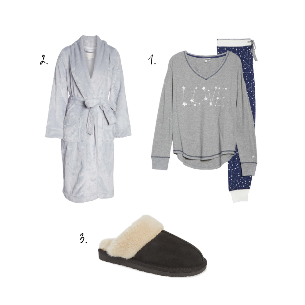 Outfit Details - 1. Pajamas2. Robe3. Slippers