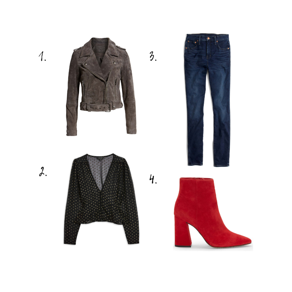 Outfit Details - 1. Jacket2. Top3. Jeans4. Booties