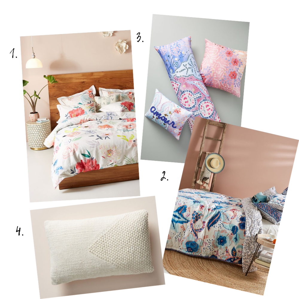 Bedding details - 1. Pink and White Floral Duvet Cover2. Blue Floral Quilt3. Multi-color Pillows4. Cream Pillow
