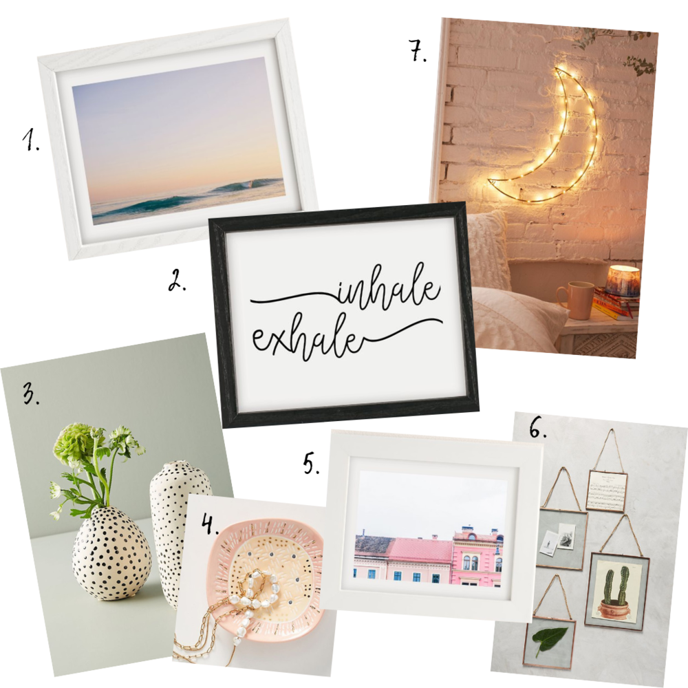 Artwork/décor details - 1. Beach Artwork2. Inhale Exhale Artwork3. Vases4. Trinket Dish5. Home Artwork6. Hanging Frames7. Moon Light