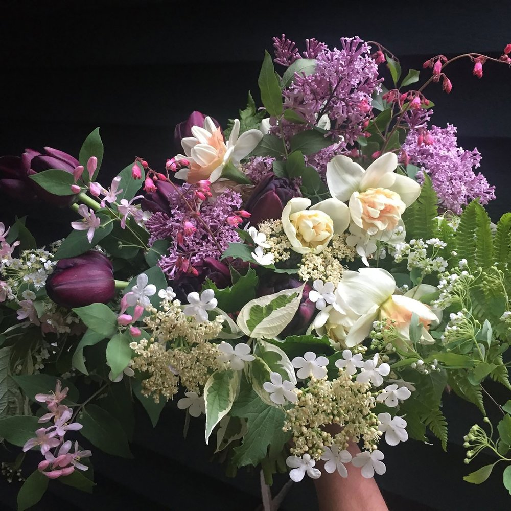 Spring is Here - Workshop Fee: $90Sunday, May 19, 1pm-3pmJoin us for spring flower growing and design workshop. Our favorite time of year with the emergence of beautiful spring flowering bulbs, branches, ferns and other gems around the farm, this workshop will focus on working with bright and ephemeral florals to celebrate the season. Workshop will begin with a spring garden tour of our fields where you will learn basic cut flower growing tips. Workshop attendees will get a floral design demonstration and learn to create a one-of-a-kind spring arrangement utilizing natural, seasonal spring materials.