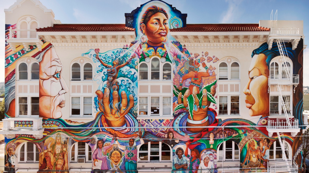 MaestraPeace Mural was painted in 1994 by Bay Area muralists: Juana Alicia, Miranda Bergman, Edythe Boone, Susan Kelk Cervantes, Meera Desai, Yvonne Littleton and Irene Perez. The mural serves as a visual testament to the courageous contributions of women through time and around the world.