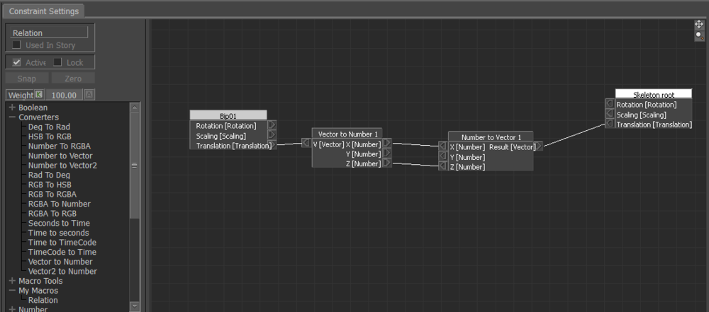 The node editor - setting up the custom constraint.