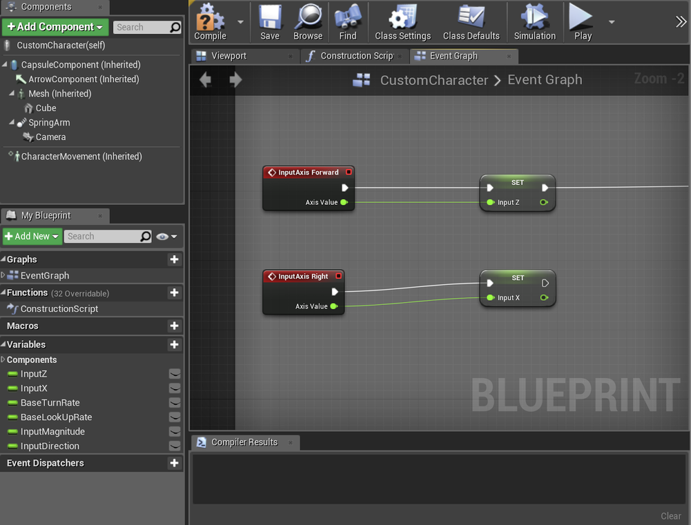 Setting the input variables for use in the animation blueprint