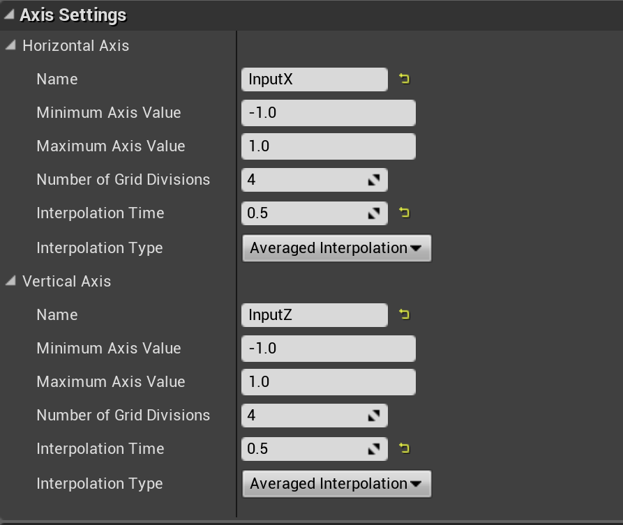 Blendspace Settings - under Axis Settings is where we set up the names for each Axis