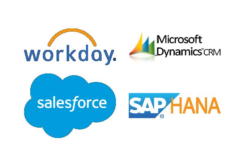 Workday, Microsoft Dynamics, Salesforce, SAP Hana,