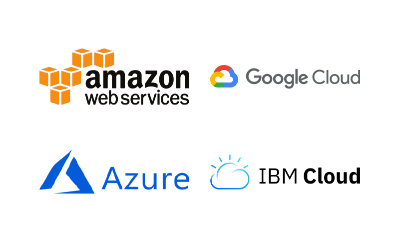 Amazon Web Services, Google Cloud, Azure, IBM Cloud,