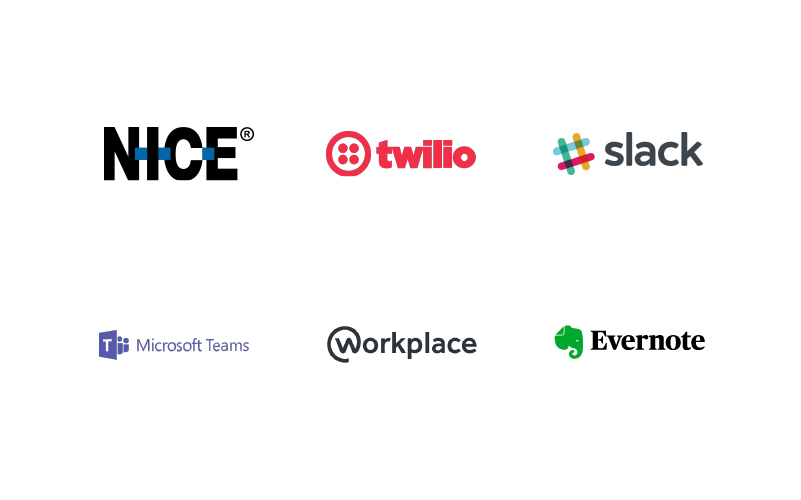Nice, Twillo, Slack, Microsoft Teams, Workplace, Evernote