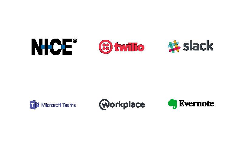 Nice, Twillo, Slack, Microsoft Teams, Workplace, Evernote