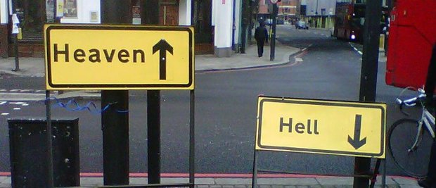 Heaven or Hell Road Signs