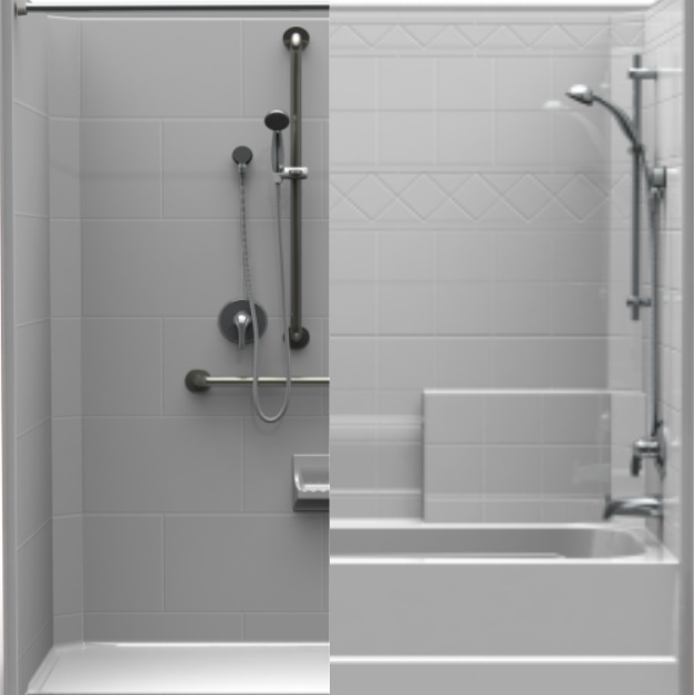 Step 1 - Easy decisions first: Tub or Shower?Do you want to open up your space by converting the current tub to a large walk in shower or do you enjoy a warm soak and want to update your tub?Do you only want to update your shower space or can Stellar renovate your entire bathroom?