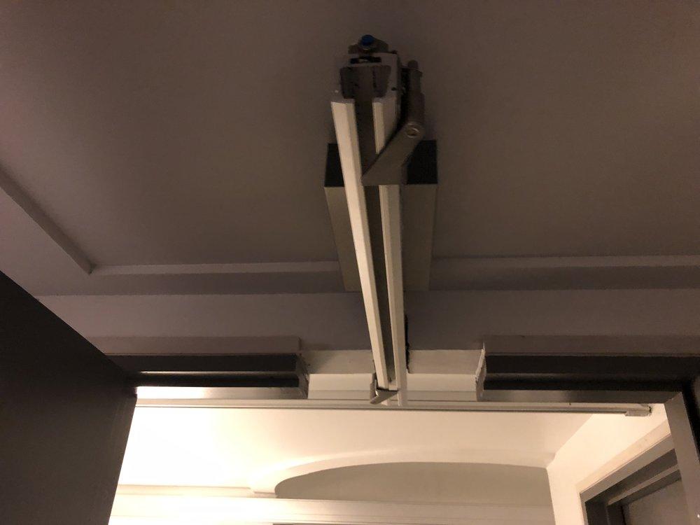 Rails between bedrooms and bathrooms.