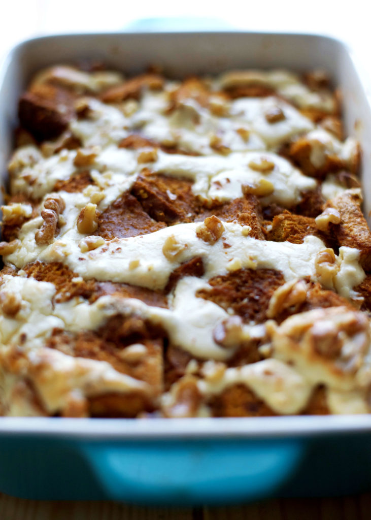 Pumpkin Cheesecake Baked French Toast