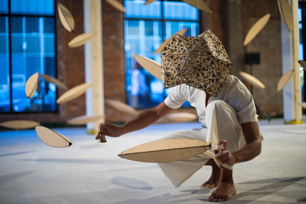 Charles Campbell, Actor Boy: Travels in Birdsong, 2017. Installation and performance. Photo: Oakar Myint