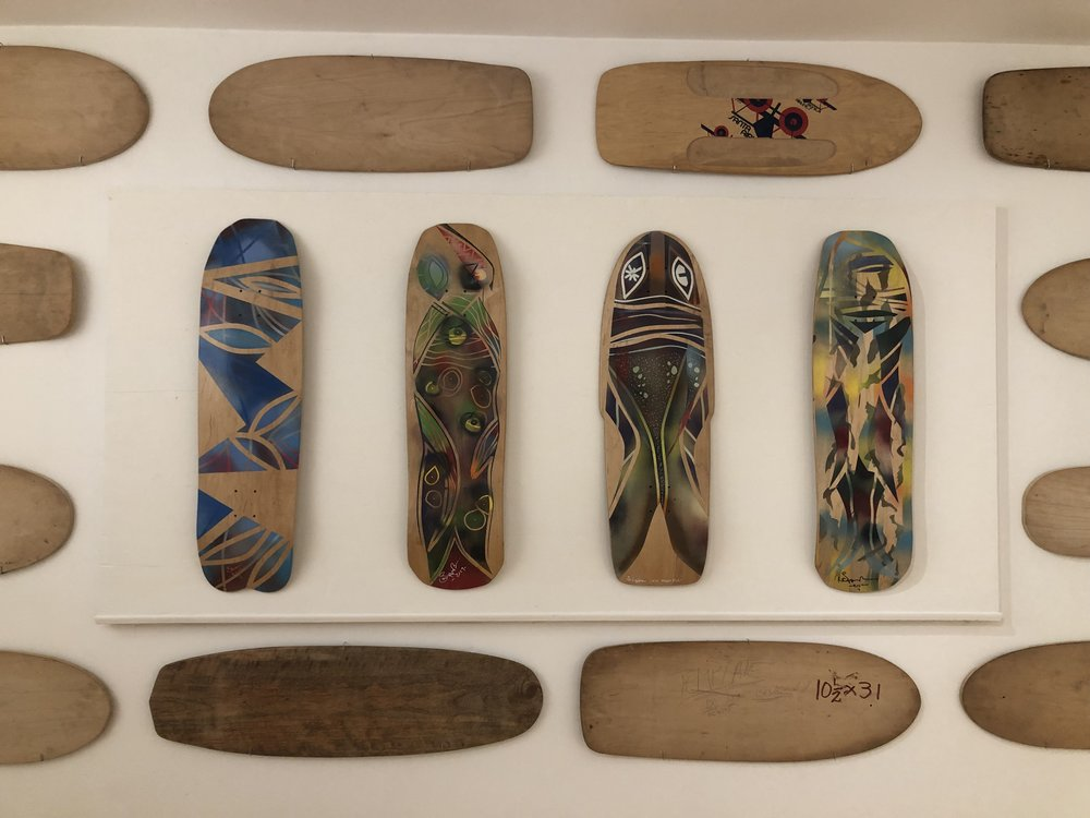 Installation Art  in the show, featuring original deck molds from Santa Monica Airlines, Skip Engblom, Jim Ganzer, Peter Kreitler, Barry McGee, Will Milner, Jonah Reimers
