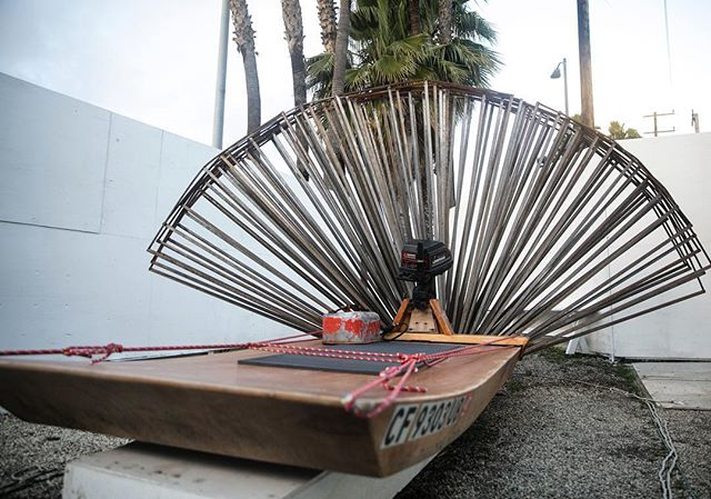 This is an image of Mikey's homemade boat he took took to Santa Rosa Island one of the Channel Islands. 4 x 8ft. Enough to float one man. With a 7.5 horsepower engine. Equipped with homemade hydrodynamic craft and camping gear.