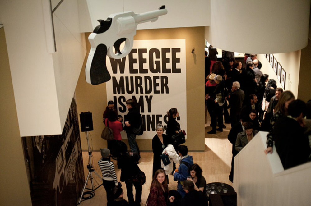 Opening night of Weegee: Murder Is My Business at ICP, January, 2012.